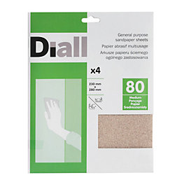 Diall 80 Medium Sandpaper Sheet, Pack of 4