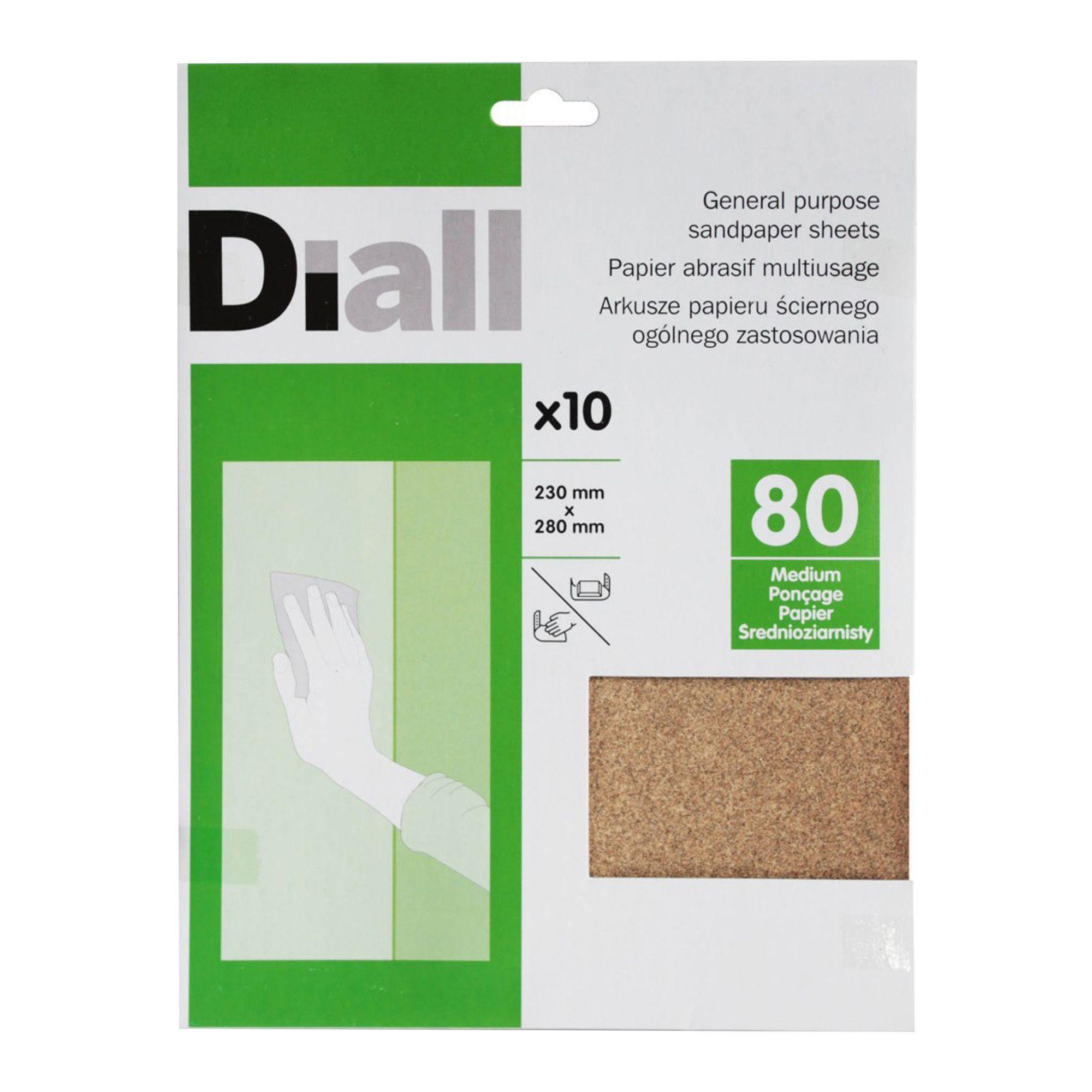 Diall 80 Medium Sandpaper Sheet, Pack Of 10