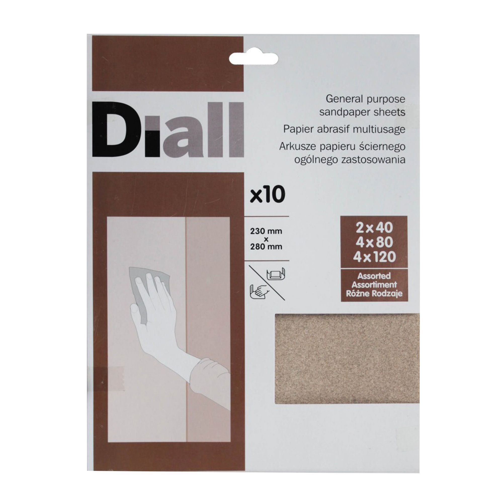 Diall Mixed Grit Assorted Sandpaper Sheet, Pack Of 10