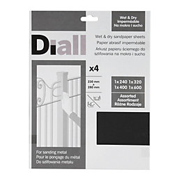 Diall Mixed Grit Assorted Sandpaper Sheet, Pack of