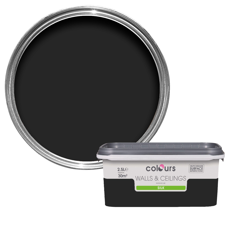 Colours Black Silk Emulsion Paint 2 5l Departments Diy