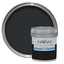 Colours Black Matt Emulsion Paint 50ml Tester Pot