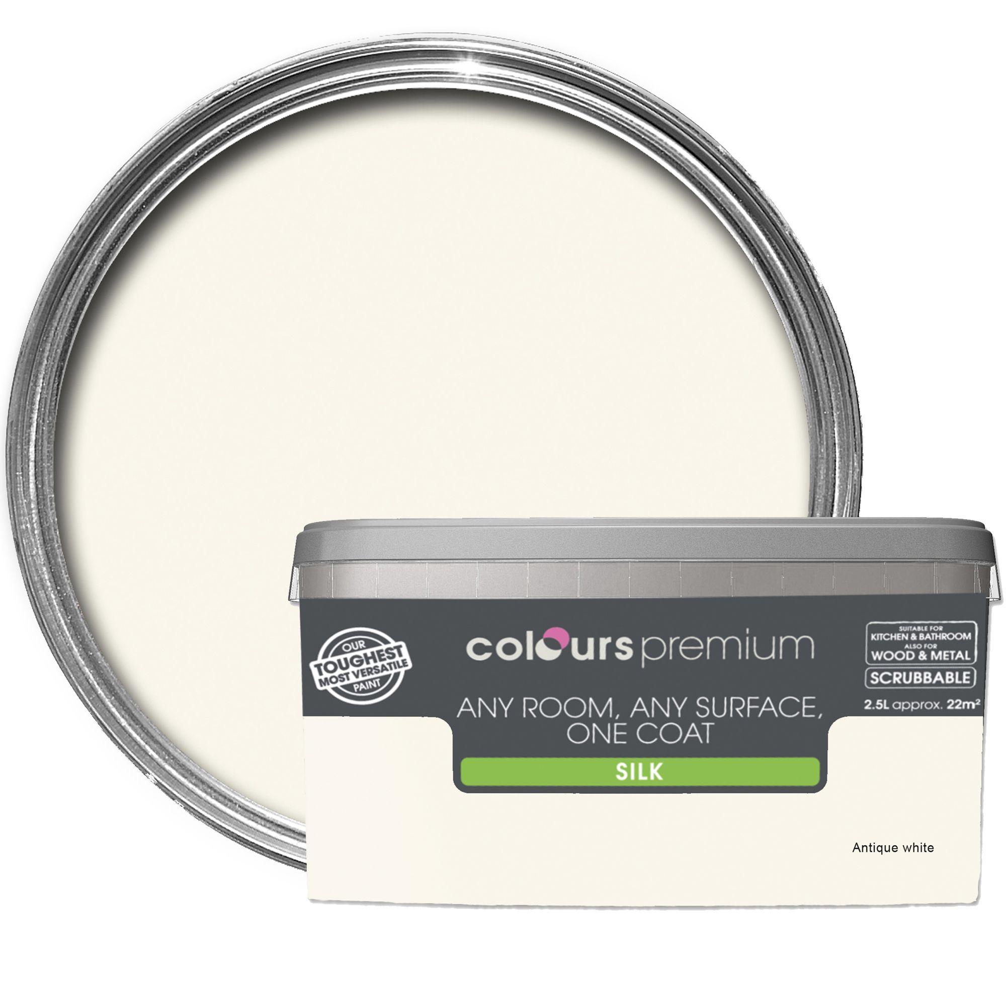 Colours Premium Antique White Silk Emulsion Paint 2.5l