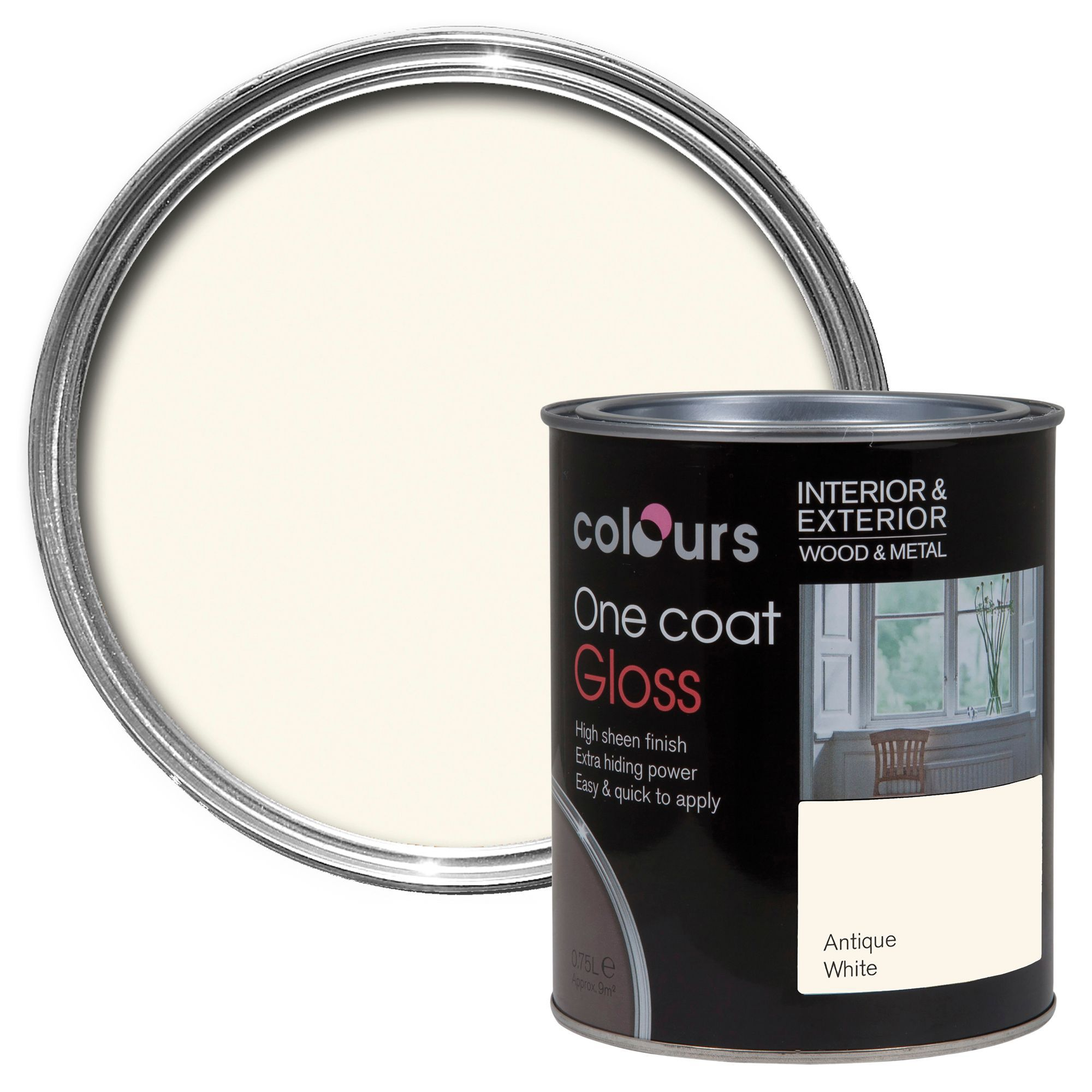 Colours One Coat Interior Antique White Gloss Wood & Metal Paint 750ml
