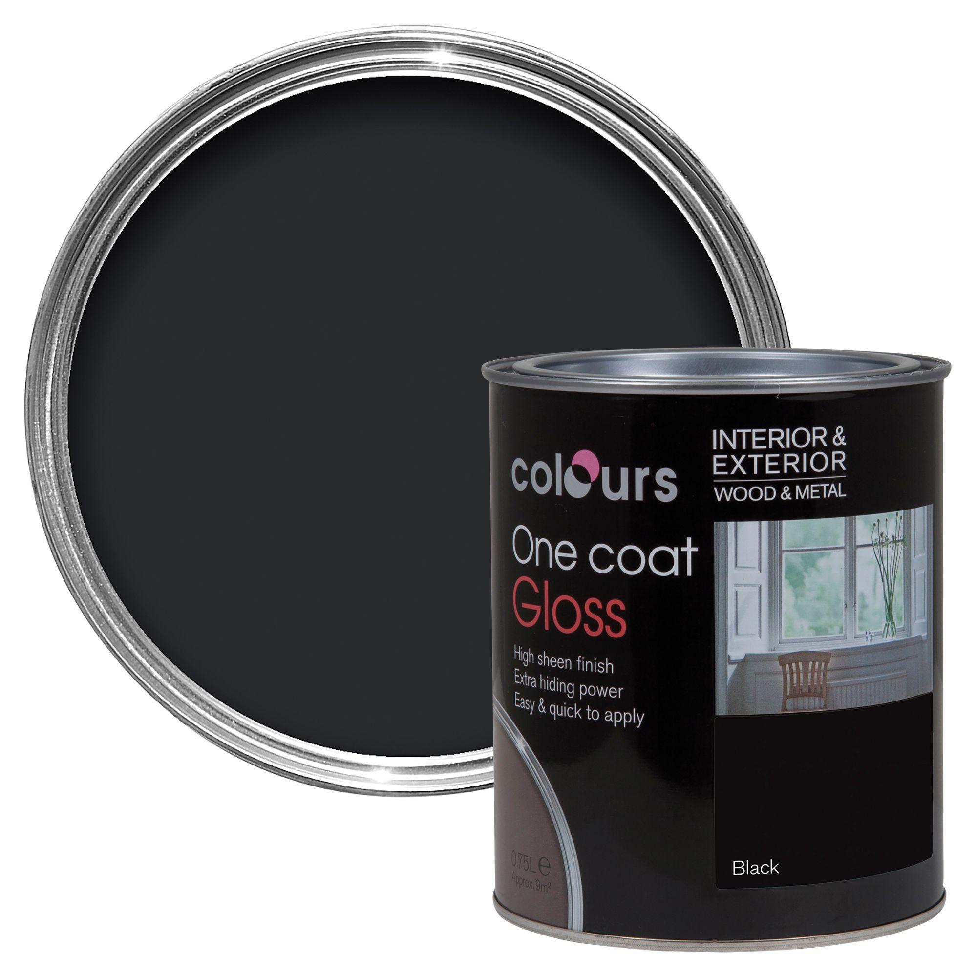 Colours One Coat Interior & Exterior Black Gloss Wood & Metal Paint 750ml
