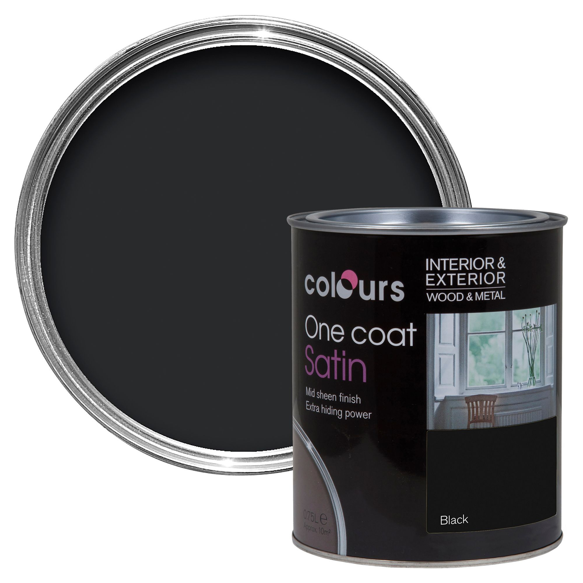 Colours One Coat Interior Exterior Black Satin Wood Metal Paint 750ml Departments Diy At B Q