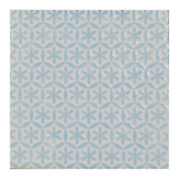 Starla Blue Ceramic Wall Tile, (L)148mm (W)148mm