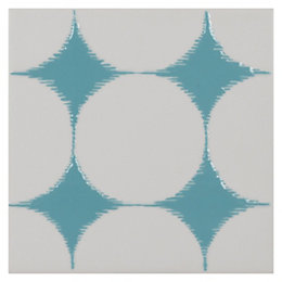 Ikat Scarab Ceramic Wall Tile, (L)148mm (W)148mm