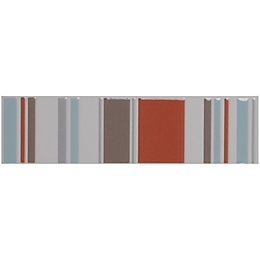 Oversized Stripe Terracotta Ceramic Border Tile, (L)298mm (W)78mm