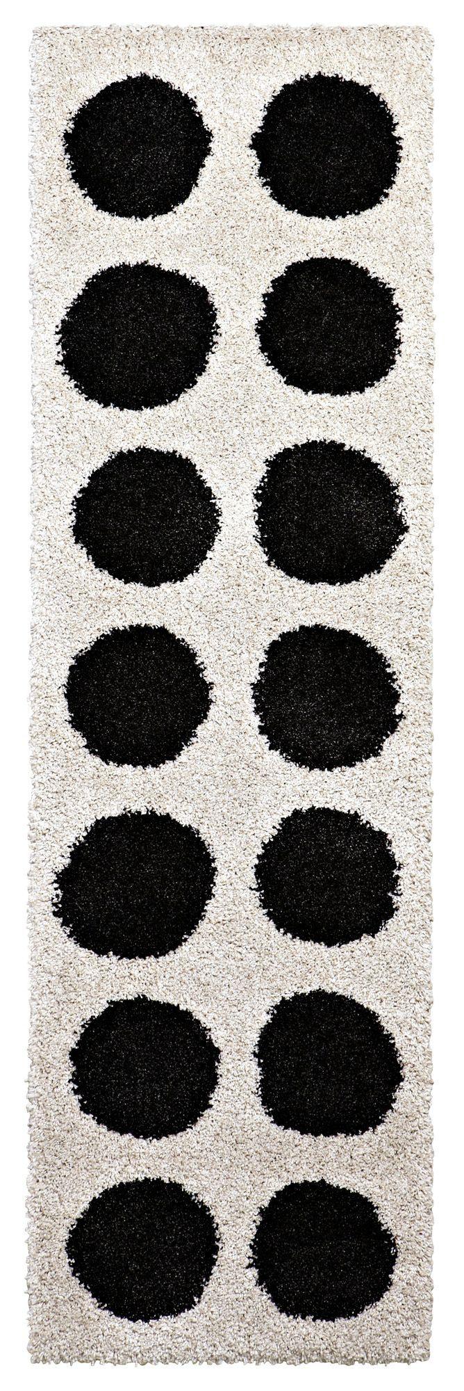 Colours Brady Black & White Spot Runner (l)2.0m (w)0.6m