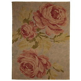 Colours Sadie Cream, Pink & Gold Rose Rug
