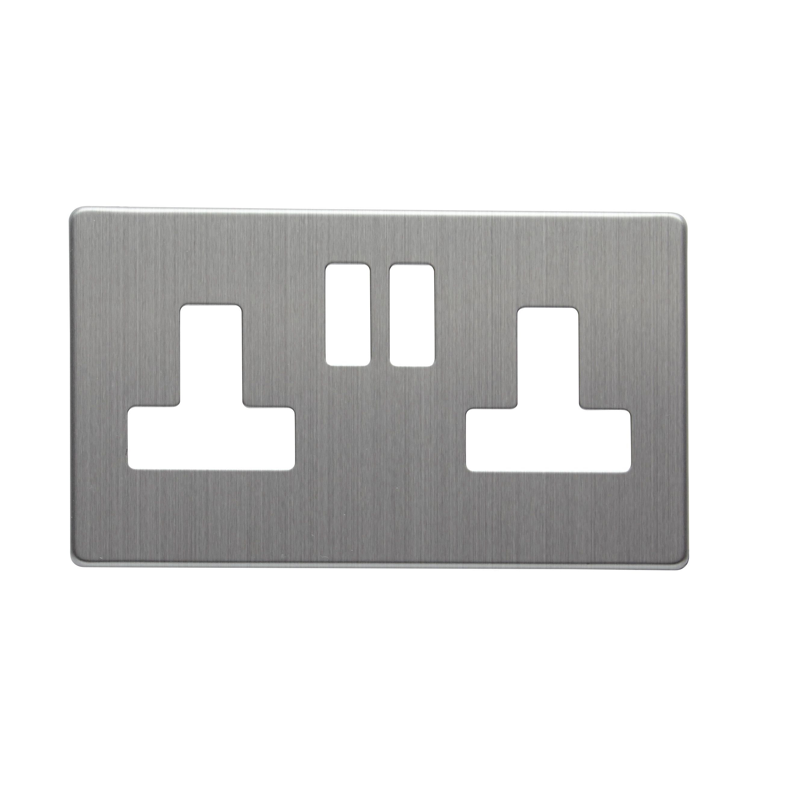 Colours Double Brushed Steel Socket Front Plate