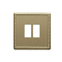 Colours Single Beaded Brass Switch Front Plate