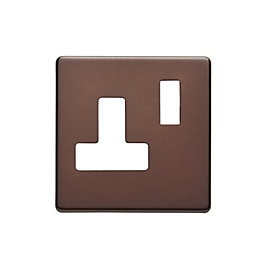 Colours Single Mocha Socket Front Plate