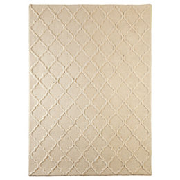 Colours Edna Cream Lattice Rug (L)1.7m (W)1.2m