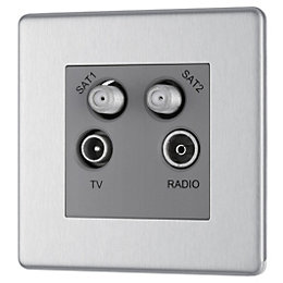 Colours Brushed Steel Coaxial & Satellite Socket