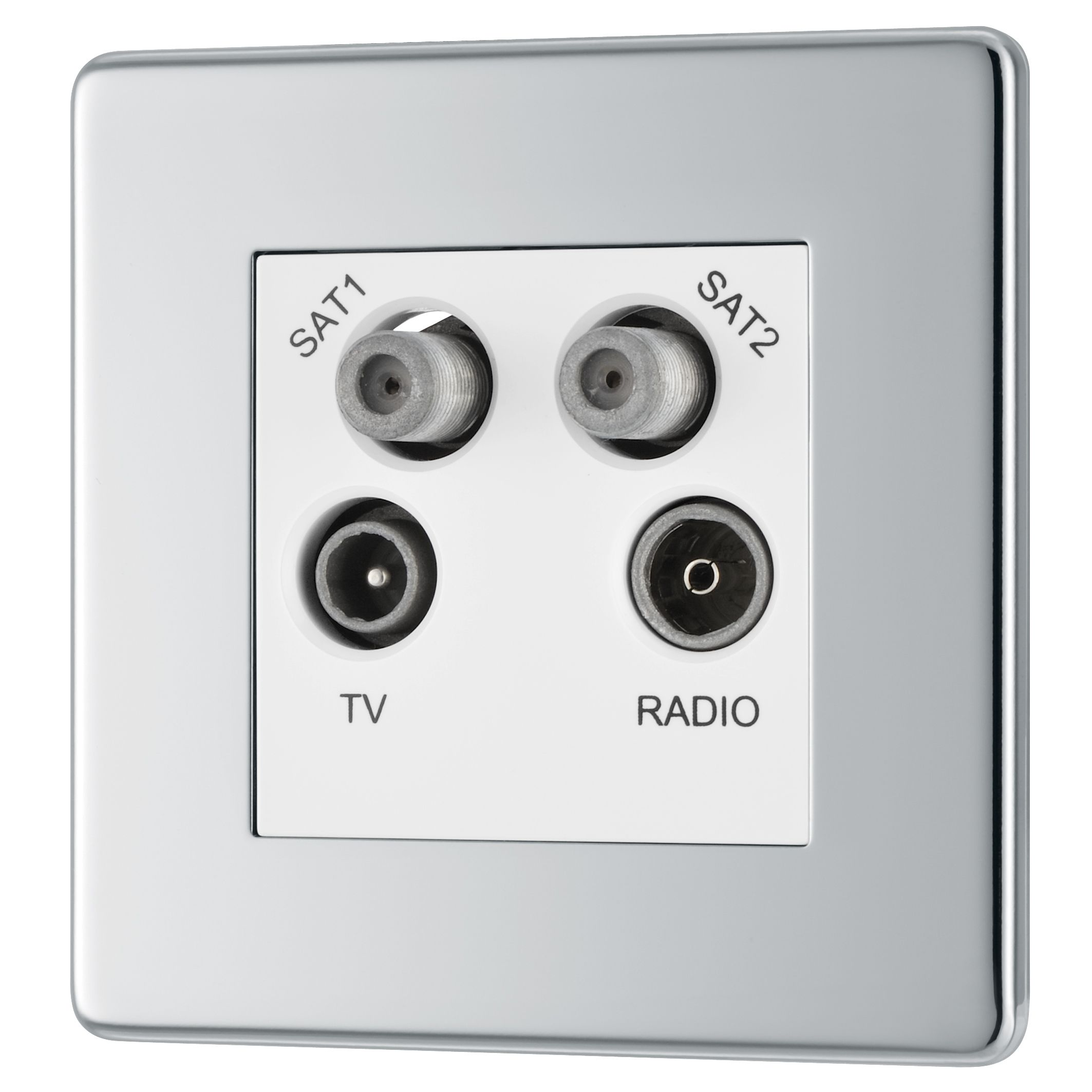 Colours Flat Screwless Screwless Polished Chrome Metal Quadruple Coaxial & Satellite Socket