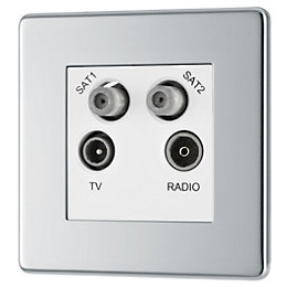 Colours Polished Chrome Coaxial & Satellite Socket