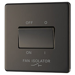 Colours 10A Single Black Nickel Fan Isolator Switch