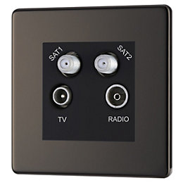 Colours Black Nickel Coaxial & Satellite Socket