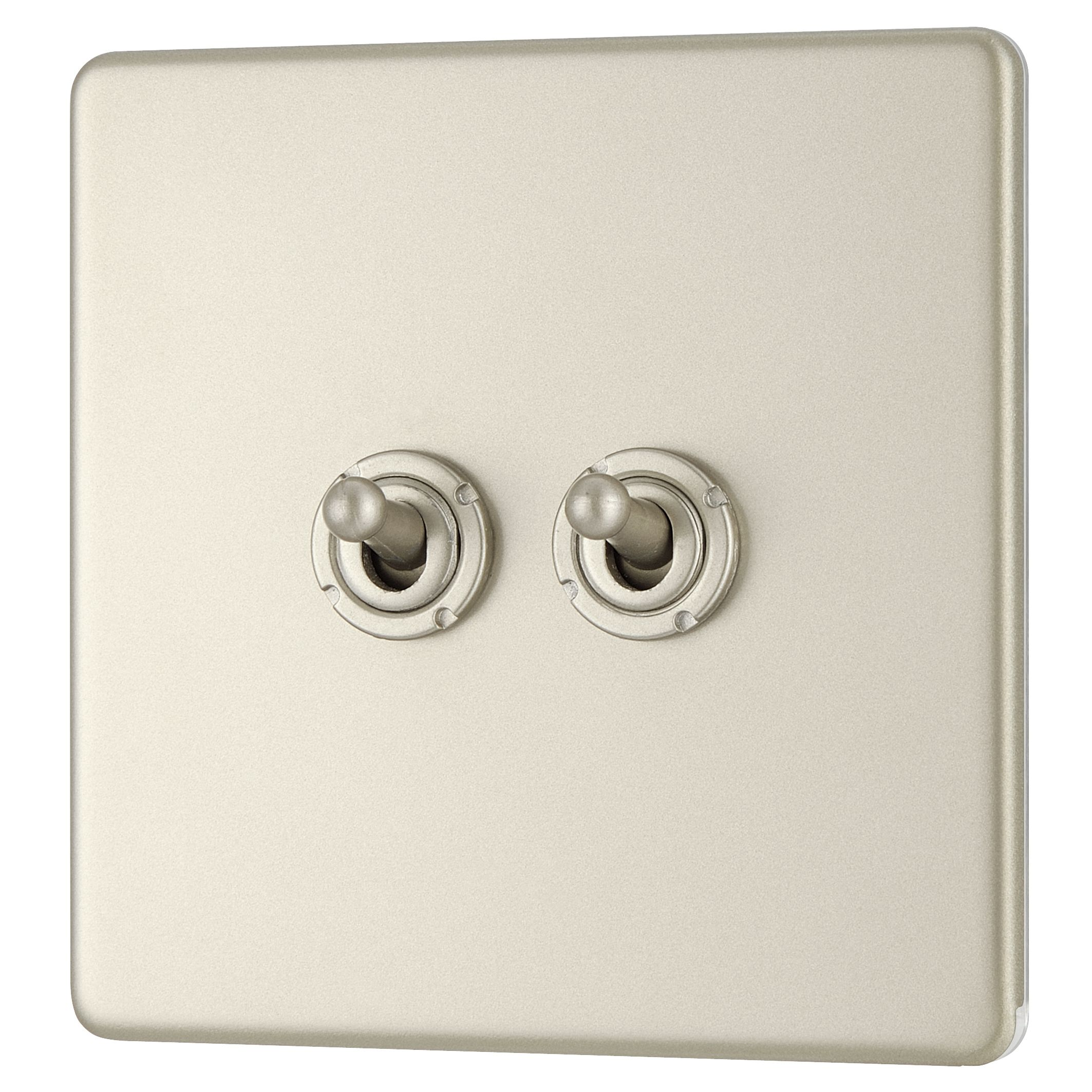 Colours 10a 2-way Double Pearl Nickel Toggle Switch