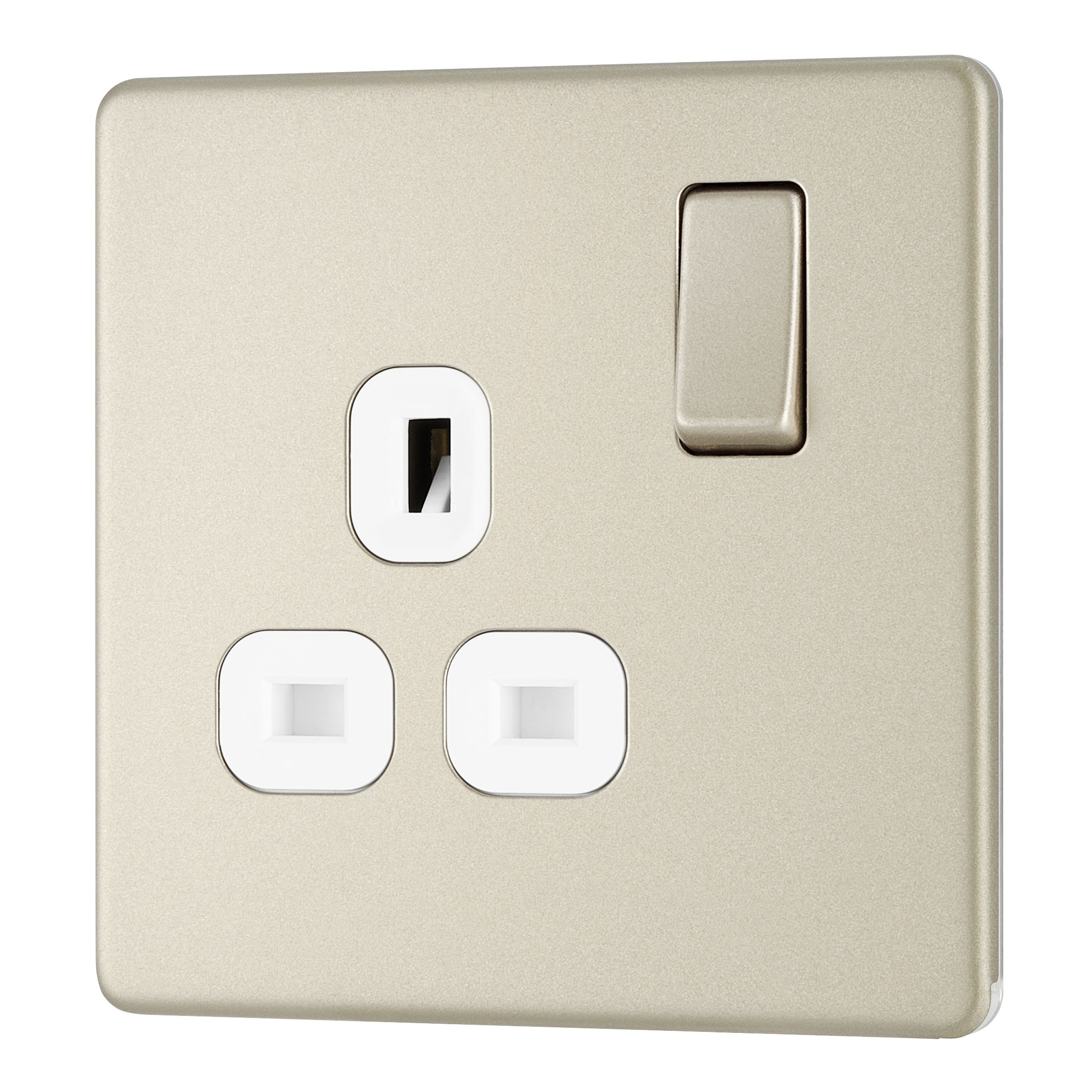 Colours 13a Pearl Nickel Switched Single Socket