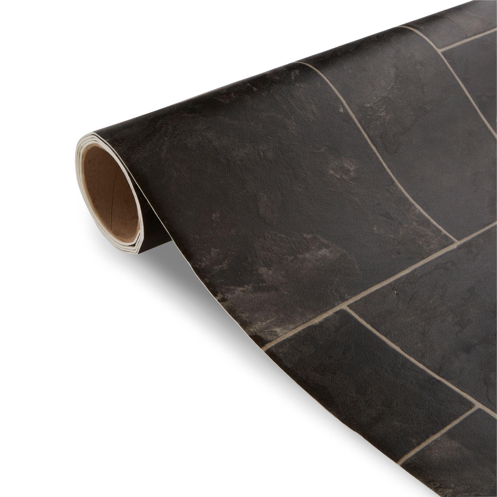 Octavina black tile effect vinyl 4 m departments diy for Black tile effect vinyl flooring
