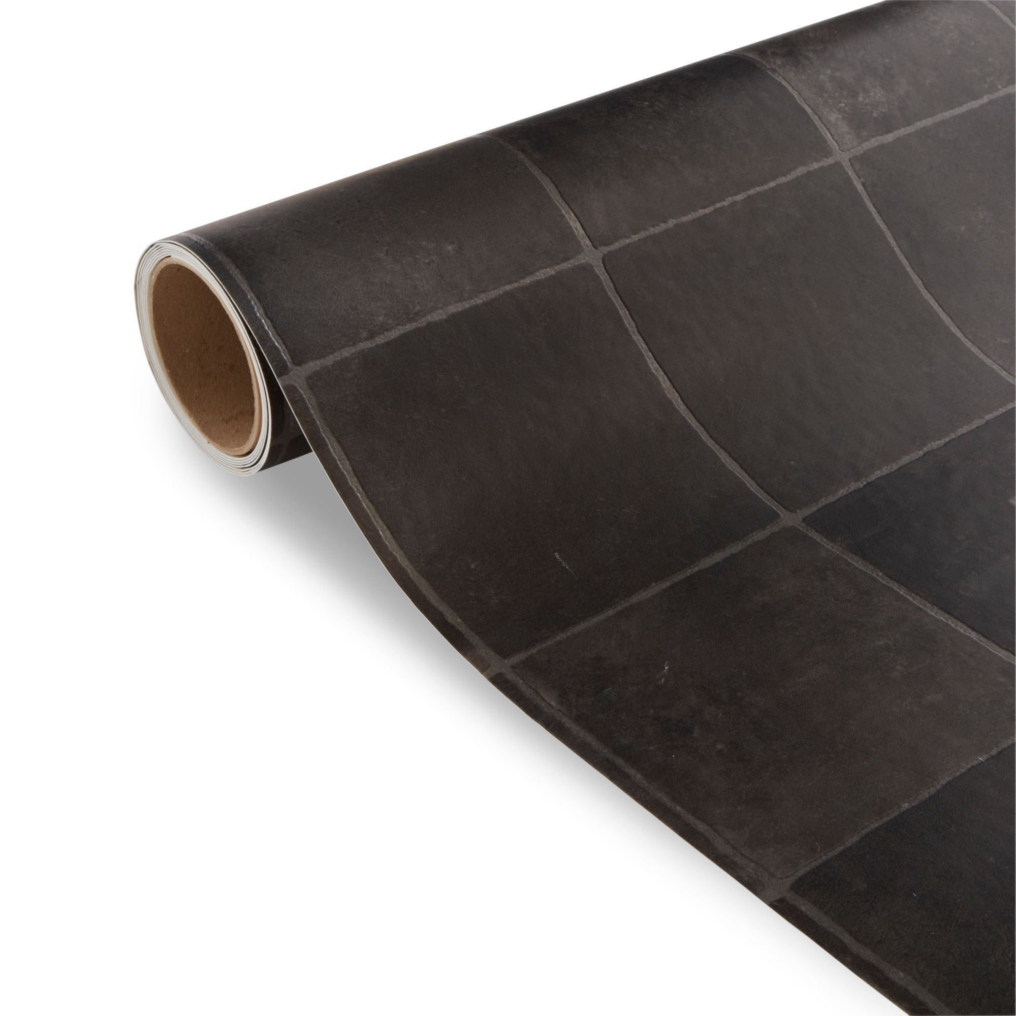 Kennedy black tile effect vinyl 6 m departments diy for Black tile effect vinyl flooring
