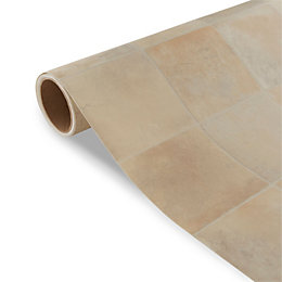 Colours Kennedy Beige Tile Effect Vinyl 6m² Sheet