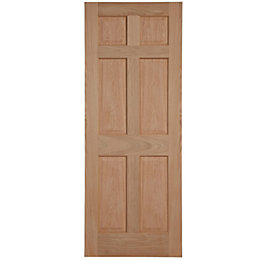 6 Panel Oak Veneer Unglazed Internal Fire Door,