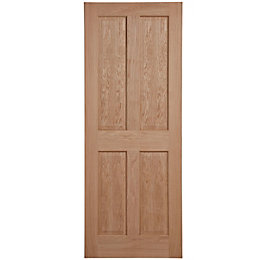 4 Panel Oak Veneer Unglazed Internal Fire Door,