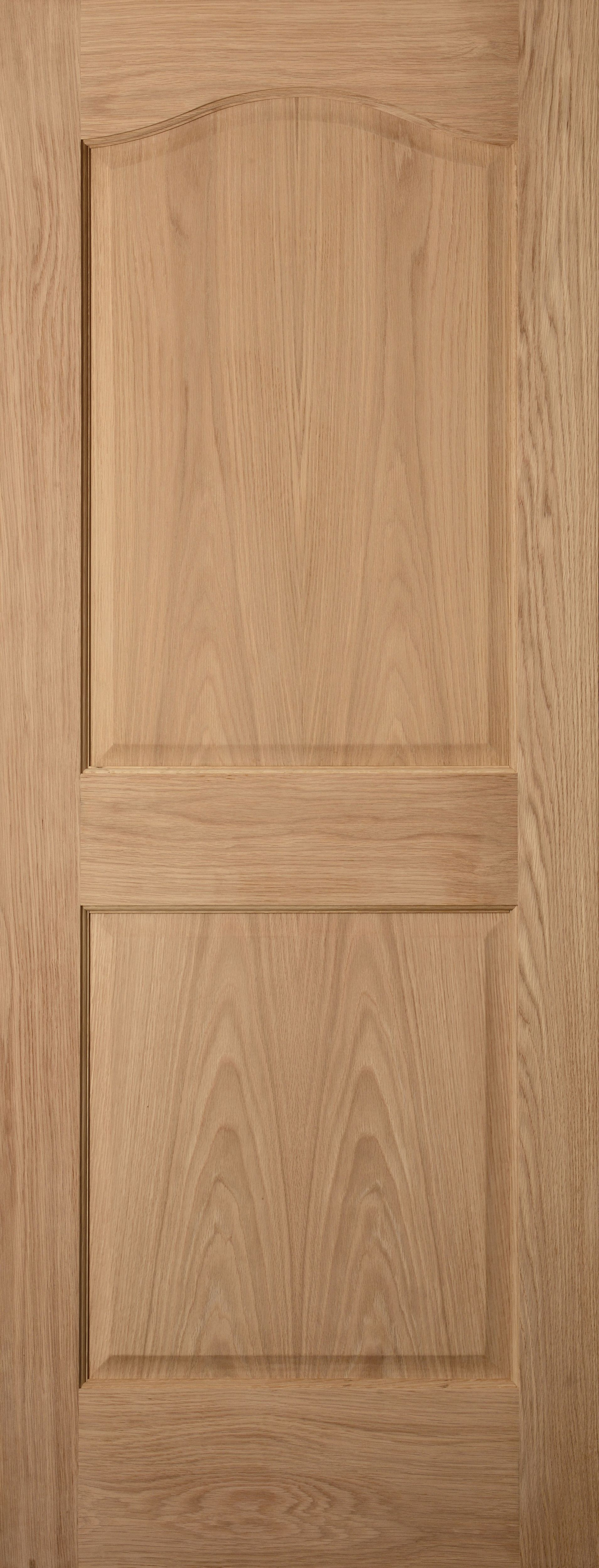 2 Panel Arched Oak Veneer Unglazed Internal Standard Door, (h)1981mm (w)610mm