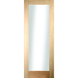 1 Panel Shaker Oak Veneer Glazed Internal Door,
