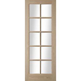 10 Lite Oak Veneer Glazed Internal Door, (H)1981mm