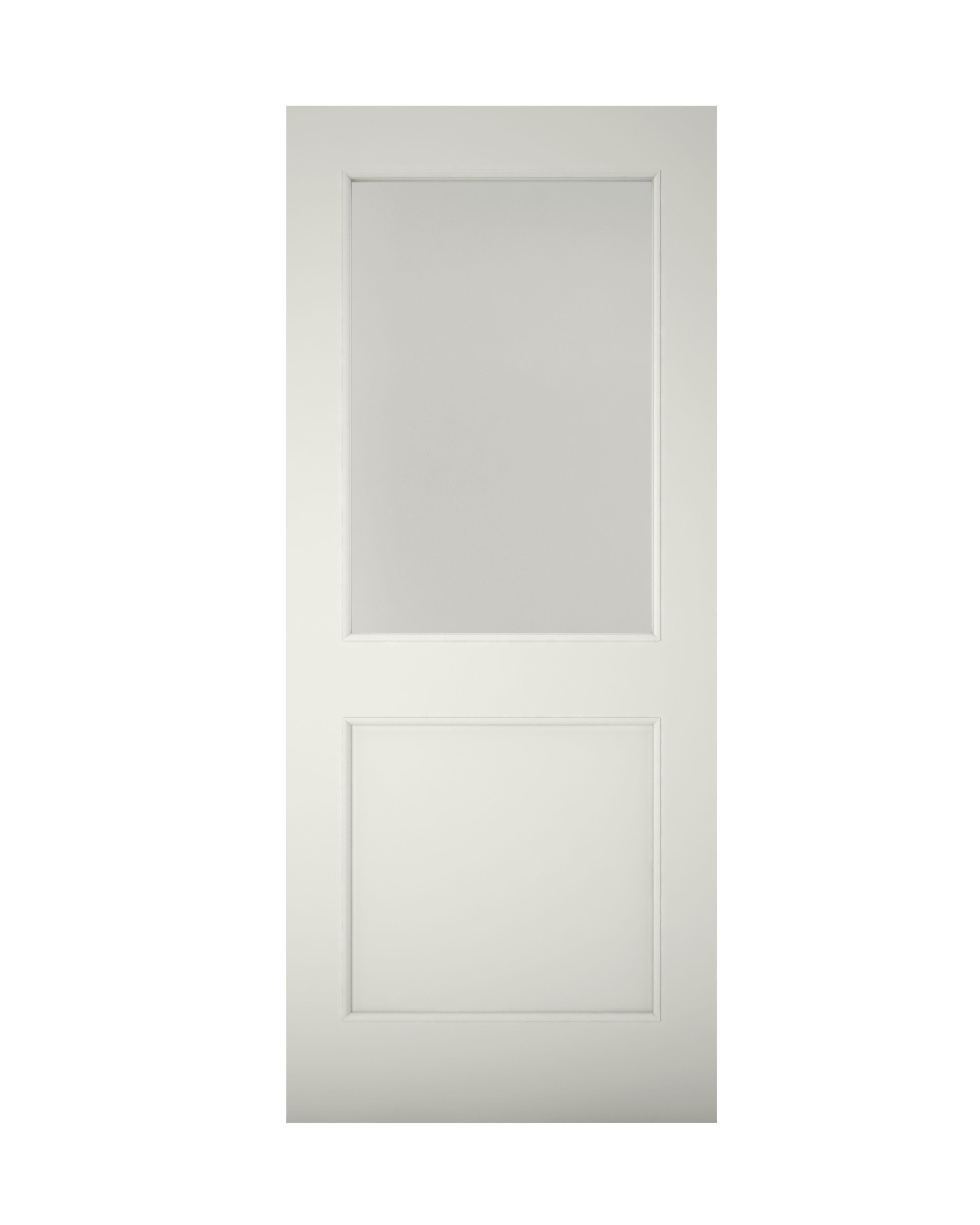 2 Panel Primed Clear Pine Veneer Timber Glazed Back Door, (h)2032mm (w)813mm