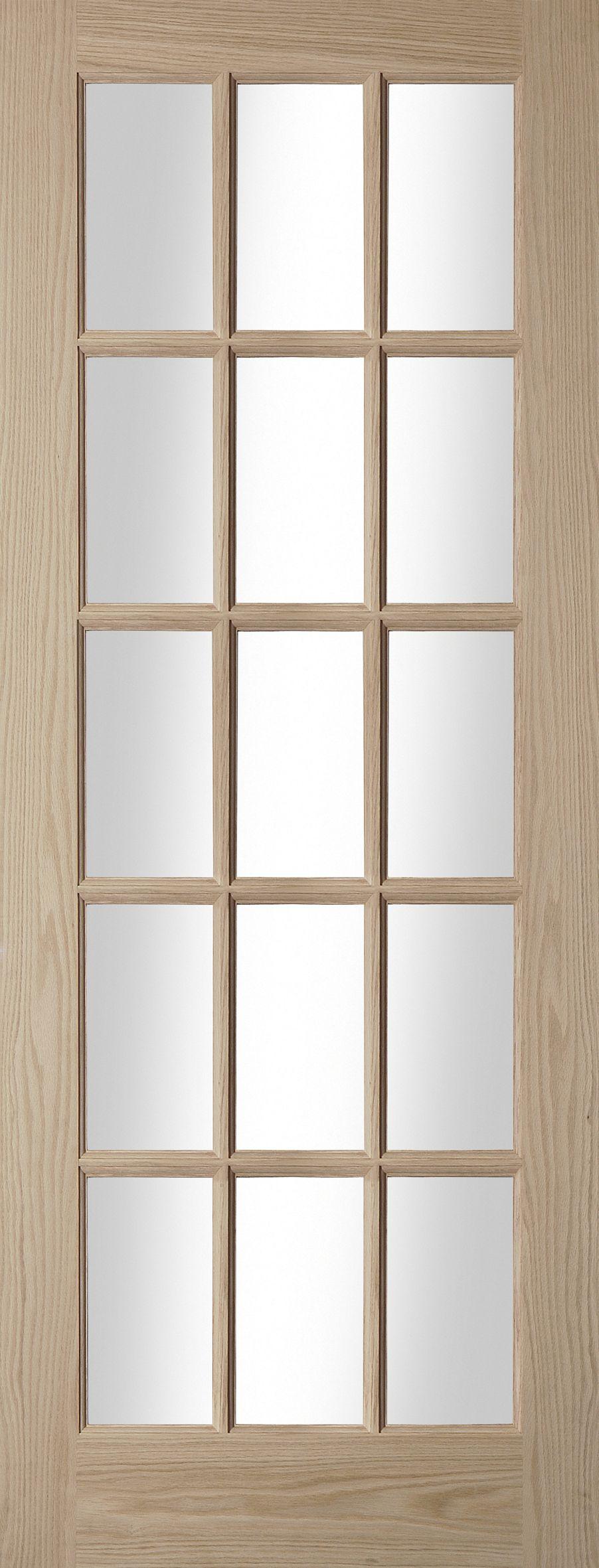 Fully glazed 15 lite oak veneer glazed internal standard for 15 light interior door white