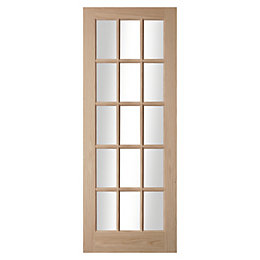 15 Lite Oak Veneer Glazed Internal Door, (H)1981mm