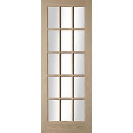 15 Lite Oak Veneer Glazed Internal Door, (H)2040mm