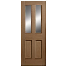 Oak Veneer Partially Glazed Exterior Front Door, (H)2032mm