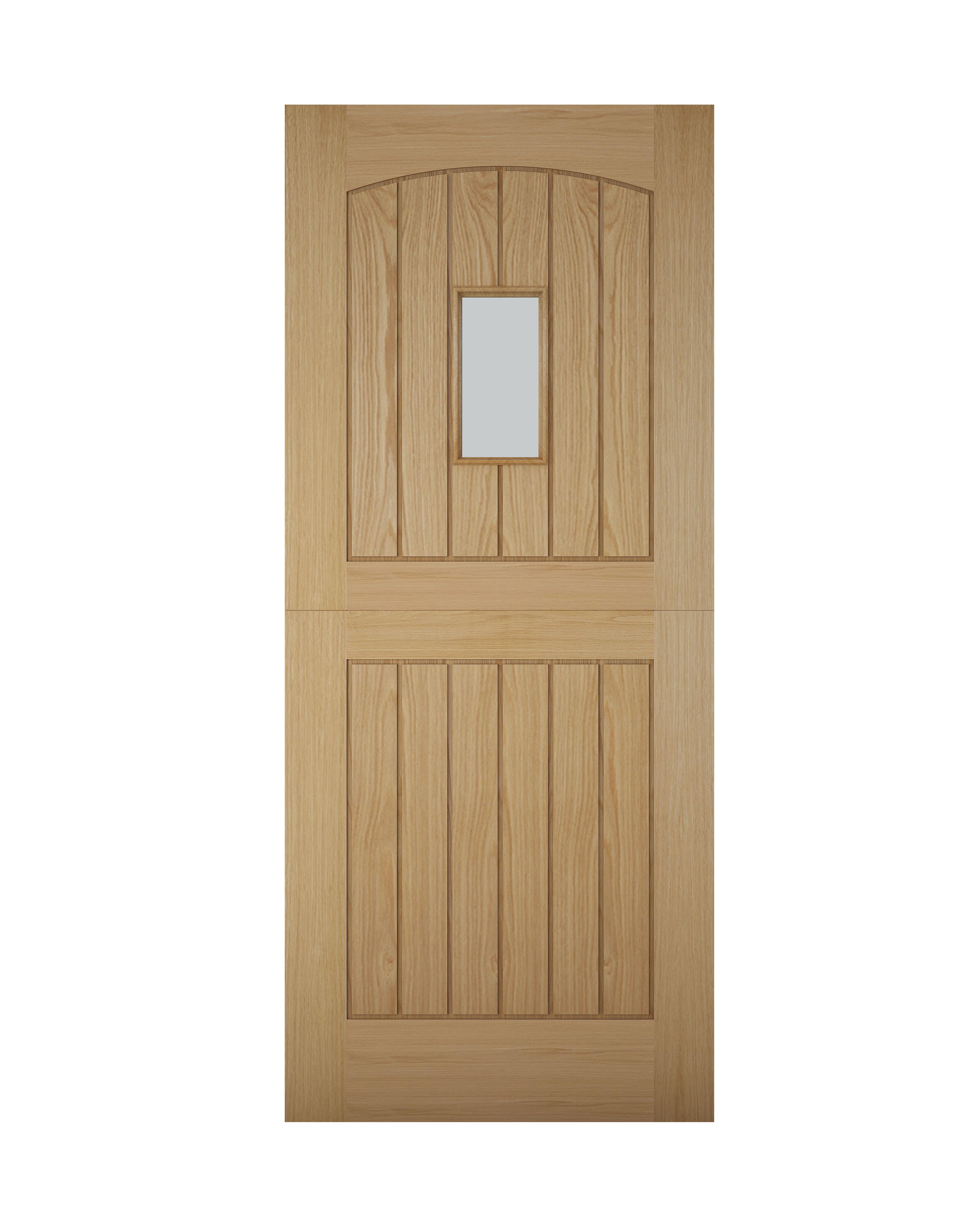 Cottage Stable Panelled White Oak Veneer Glazed Front Door, (h)2032mm (w)813mm