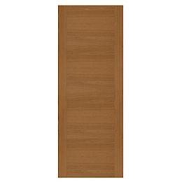 Contemporary Grooved Panel White Oak Veneer Front Door,