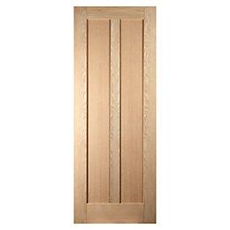 Vertical 2 Panel Oak Veneer Internal Unglazed Door,