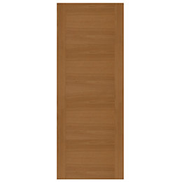 Contemporary Grooved Panel White Oak Veneer Front Door,