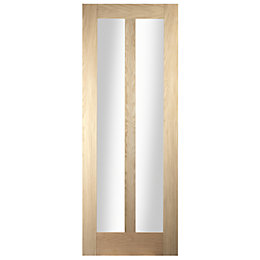 Vertical 2 Panel Oak Veneer Glazed Internal Door,