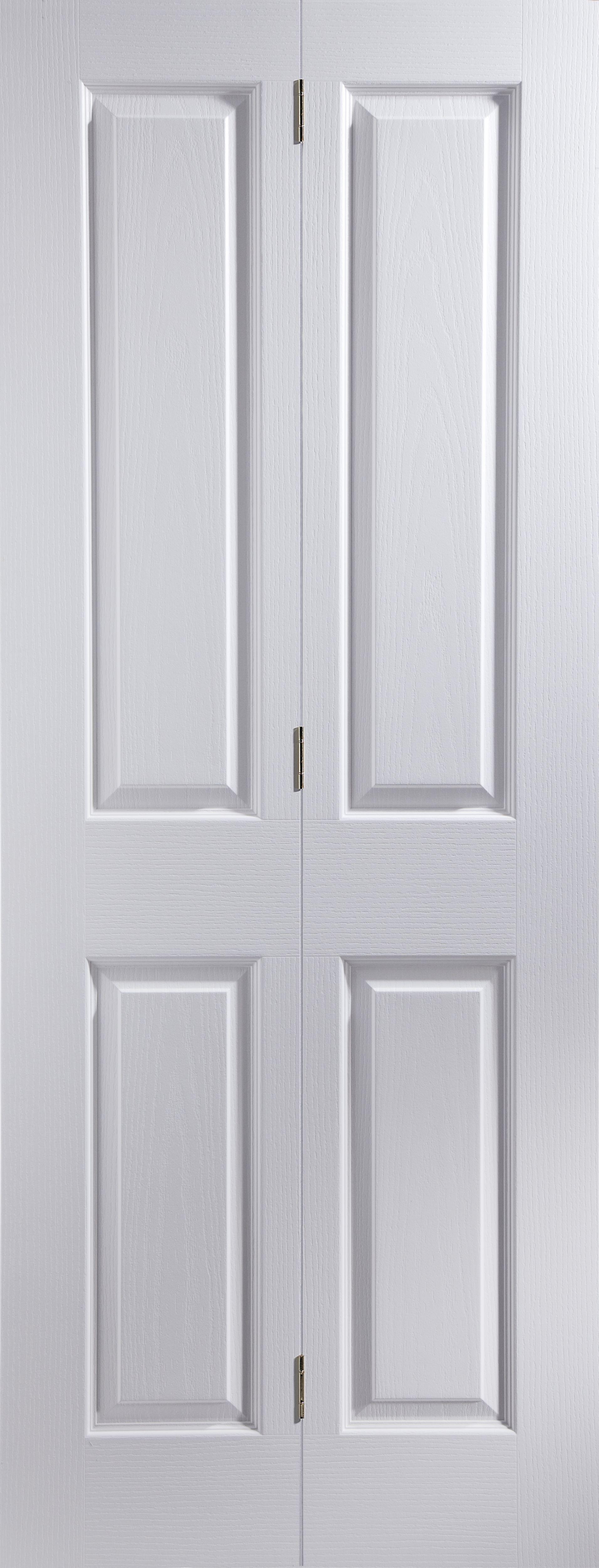 4 Panel Primed Woodgrain Effect Unglazed Internal Bi-fold Door, (h)1950mm (w)826mm