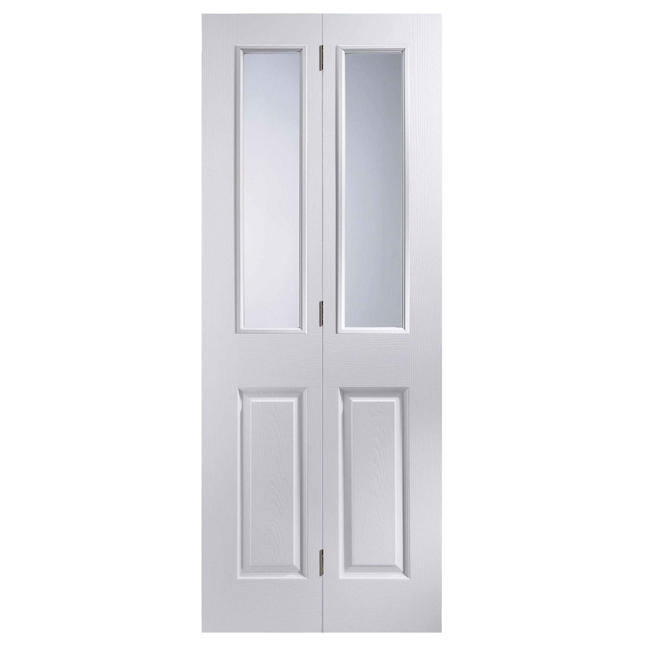 4 Panel 2 Lite Primed Woodgrain Effect Glazed Internal Bi-fold Door, (h)1950mm (w)674mm