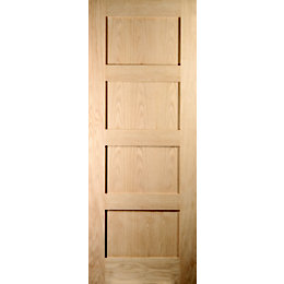 4 Panel Shaker Oak Veneer Internal Unglazed Door,