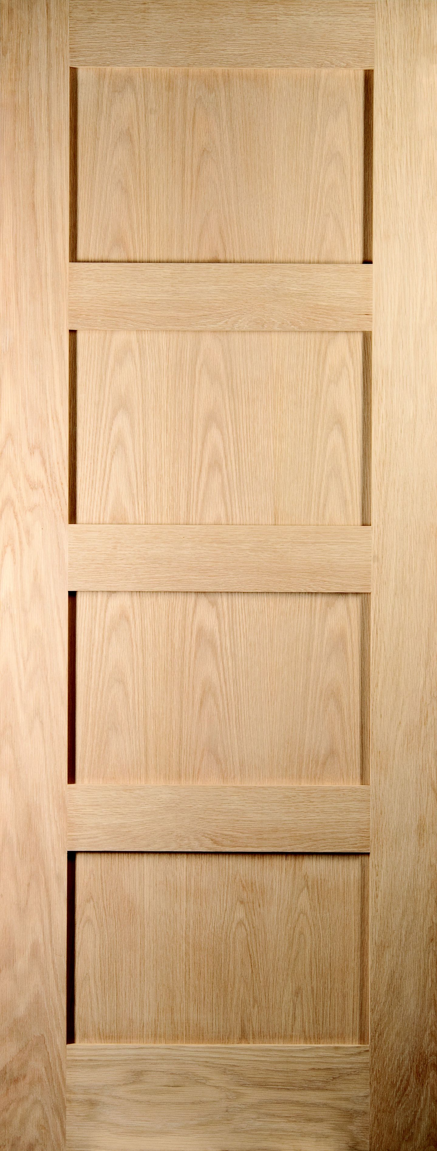 4 Panel Shaker Oak Veneer Unglazed Internal Standard Door, (h)1981mm (w)610mm