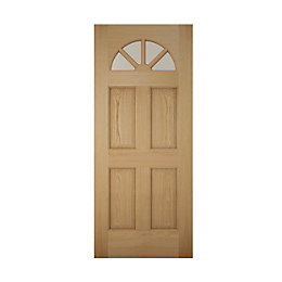 Carolina White Oak Veneer Glazed Front Door, (H)2032mm