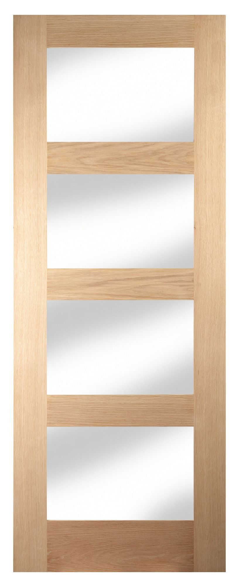4 Panel Shaker Oak Veneer Glazed Internal Standard Door, (h)1981mm (w)762mm